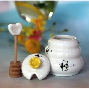 Sweet As Can Bee Honey Pot with Wooden Dipper